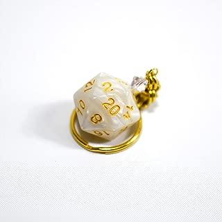Twenty Sided Dice Keychain - White and Gold