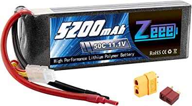 Zeee 5200mAh 50C 11.1V 3S RC Lipo Battery with (XT60 and Deans Connector) for RC Plane, DJI Quadcopter,RC Airplane, RC Helicopter, RC Car/Truck, RC Boat(Short)