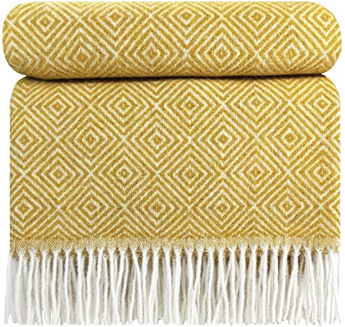 STTS International Wolldecke Plaid Wohndecke Kuscheldecke sehr weiches Plaid Decke 140 x 200 cm Wolle Gelb (Verona)