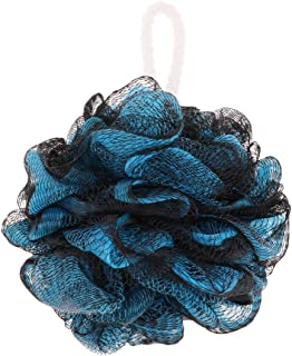 D DOLITY Bath Sponge, Mesh Puff Soft Scrubber for Men and Women - Exfoliate with Gentle Cleanse, Beauty Bathing Accessories - Black-Blue