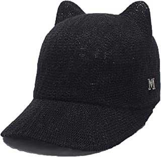 0f590997 Women Baseball Caps Spring New Knitted Cute Cat-Ear Baseball Hats Feminino  Casual Cap Casquette