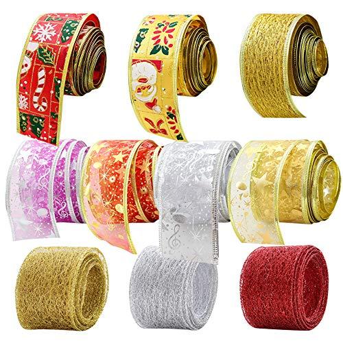 IWILCS Weihnachtsband, Weihnachtsbänder Ripsband Weihnachtsbänder Schleifenband Dekoband Weihnachten Bänder Geschenkband für Weihnachten DIY Handwerk Weihnachtsband(10pcs)