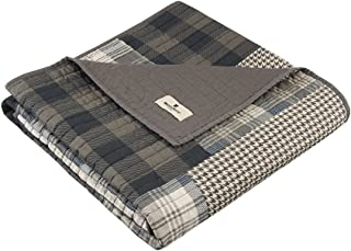 Woolrich Winter Plains Luxury Quilted Throw Taupe Gray 50x70   Plaid Premium Soft Cozy 100% Cotton For Bed, Couch or Sofa