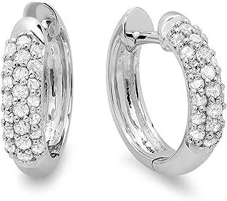 Dazzlingrock Collection 14K Gemstone & Diamond Ladies Pave Set Huggies Hoop Earrings, White Gold