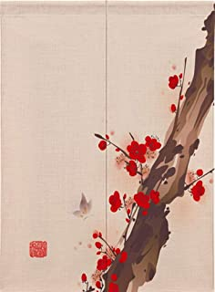 Ommda Bawełniana śliwka nadruk chiński japoński noren dzielnik drzwi zasłona gobelin z prętem do dekoracji domu, kwiat śli...