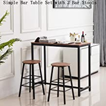 Pub Bar Table Set Height Dining Coffee Bistro Table with 2 Bar Stools Chairs for Kitchen Living Room Dining Room