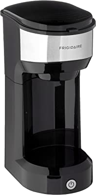 Frigidaire ECMK103 1 Cup Single Serve Retro Coffee Maker with Fast Brew Technology & Single Touch Control, Ideal for Tight Places on Countertops or Office Tables, Black