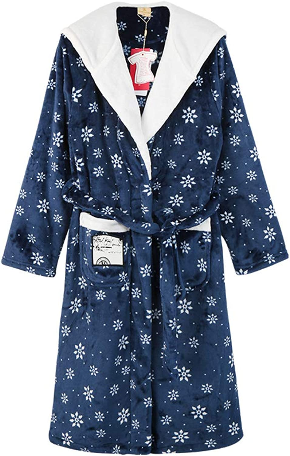 Pajama Sets Pajamas Coral Velvet Female Korean Version of The Cartoon Nightgown Sweet Hooded Flannel Home Service Bathrobe Pajama Sets (color   bluee, Size   XL)