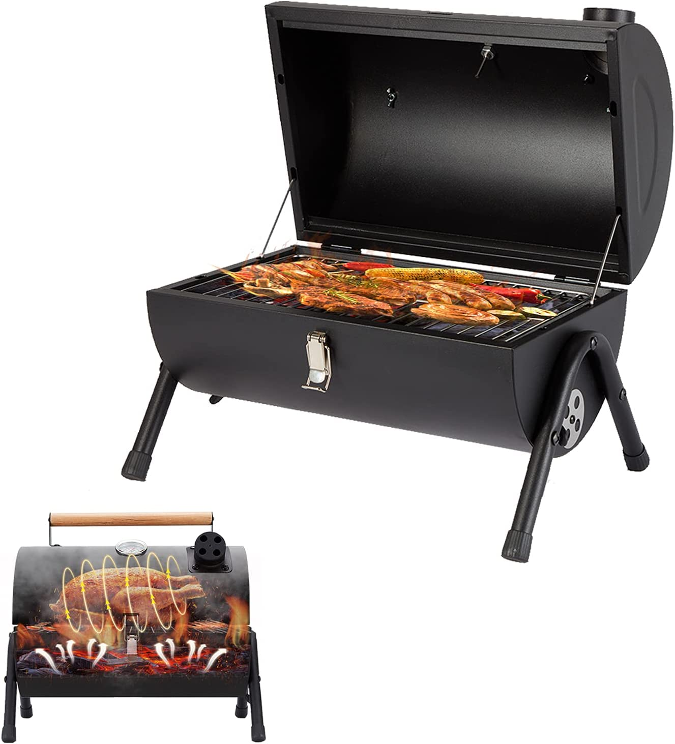 COOLNIC gift Mini Charcoal Grill Folding Ou with Portable Max 78% OFF Smoke
