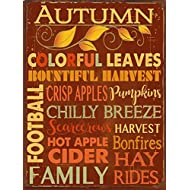 Homebody Accents Autumn Words Subway Metal Sign, Autumn, KitchenDecor, Thanksgiving, Fall, Harvest