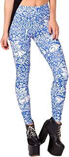 QZUnique Women's Classic Retro Printed Casual Pattern Ankle Length Elastic Tights Leggings