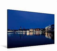 Premium - Lienzo (120 x 80 cm, horizontal), diseño de calendario de ciudades en el agua