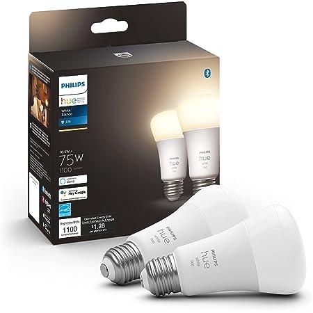 Philips Hue Paquete de 2 bombillas inteligentes A19 de color blanco, 1100 lúmenes, compatible con Bluetooth y Zigbee (concentrador de color opcional), funciona con Alexa y Google Assistant