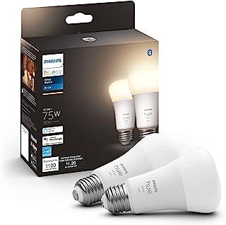 Philips Hue Paquete de 2 bombillas inteligentes A19 de color blanco, 1100 lúmenes, compatible con Bluetooth y Zigbee (conc...