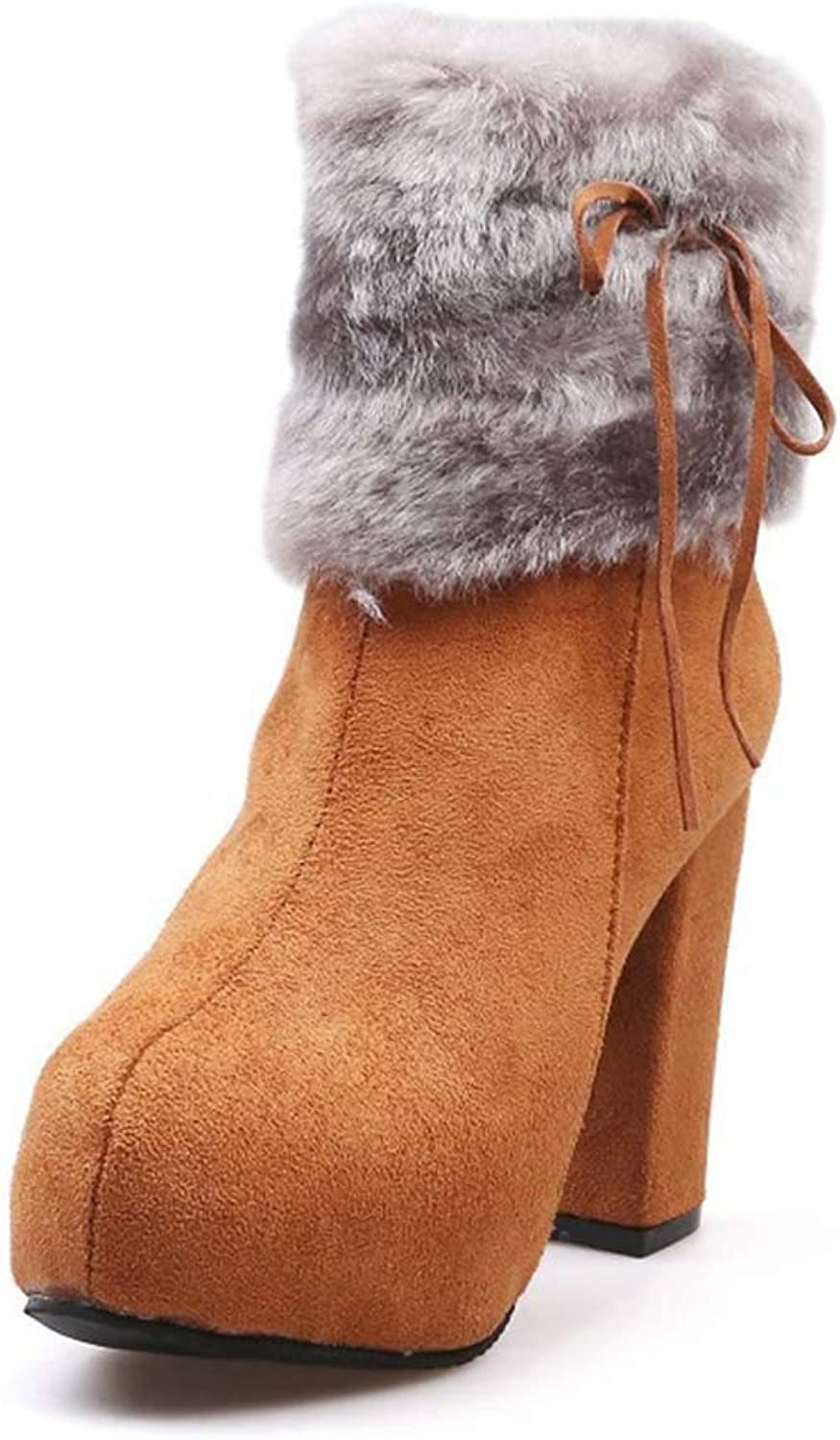 Womens Boots - Round Toe High Heel Brown Work Boots for Women Fluffy