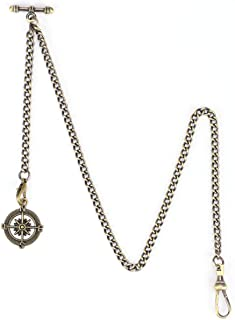 OyeahO Albert Chain Pocket Watch, T-bar Chain with Compass Pendant, Curb Link Chain 2 Hook Antique Fob T Bar for Men(Bronze)
