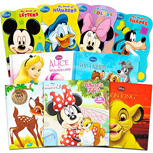Disney Mickey Minnie Mouse Board Books Set for Kids Toddlers -- Bundle of 9 Disney Books Featuring Mickey Mouse, Minnie Mouse, Goofy, Donald Duck, and More