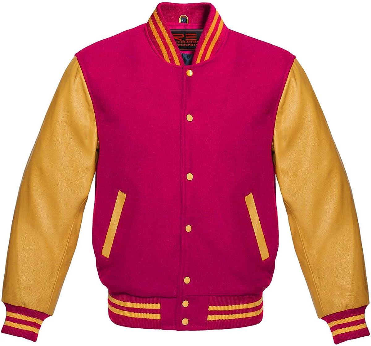 Varsity Letterman Baseball Bomber Retro Vintage Jacket Wool & Genuine Leather Sleeves