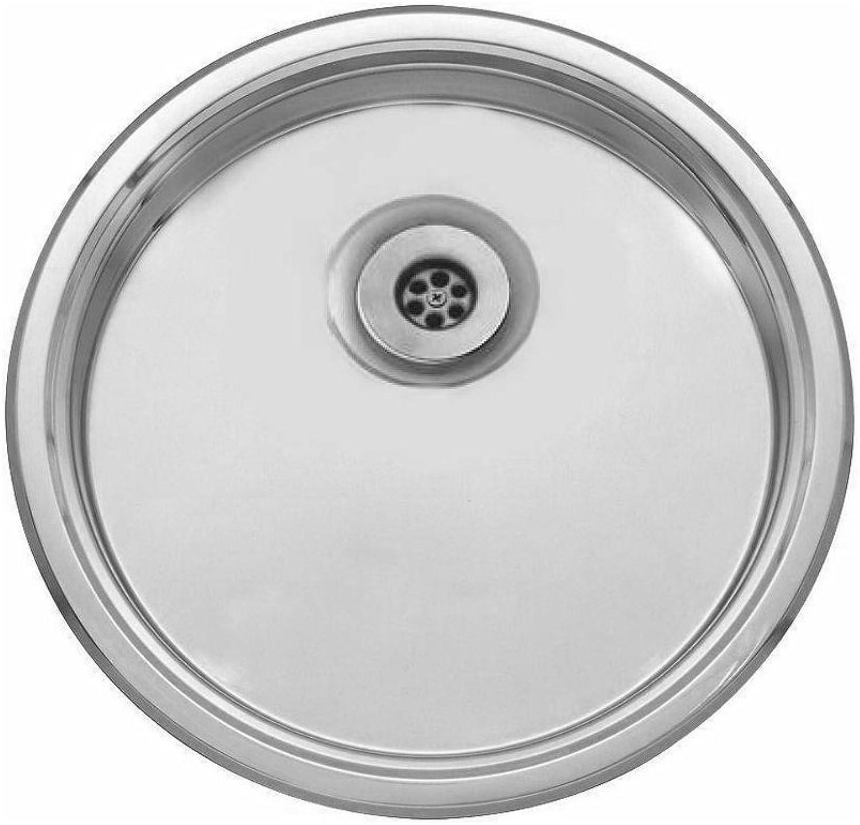 FITTINGSCO Stainless Steel 450mm Diameter Round Inset Drainer Kitchen Sink