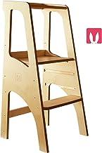 Bianconiglio Kids ® EVO 2019 Torre de aprendizaje Montessori Acabado transparente, madera vista, regulable en altura