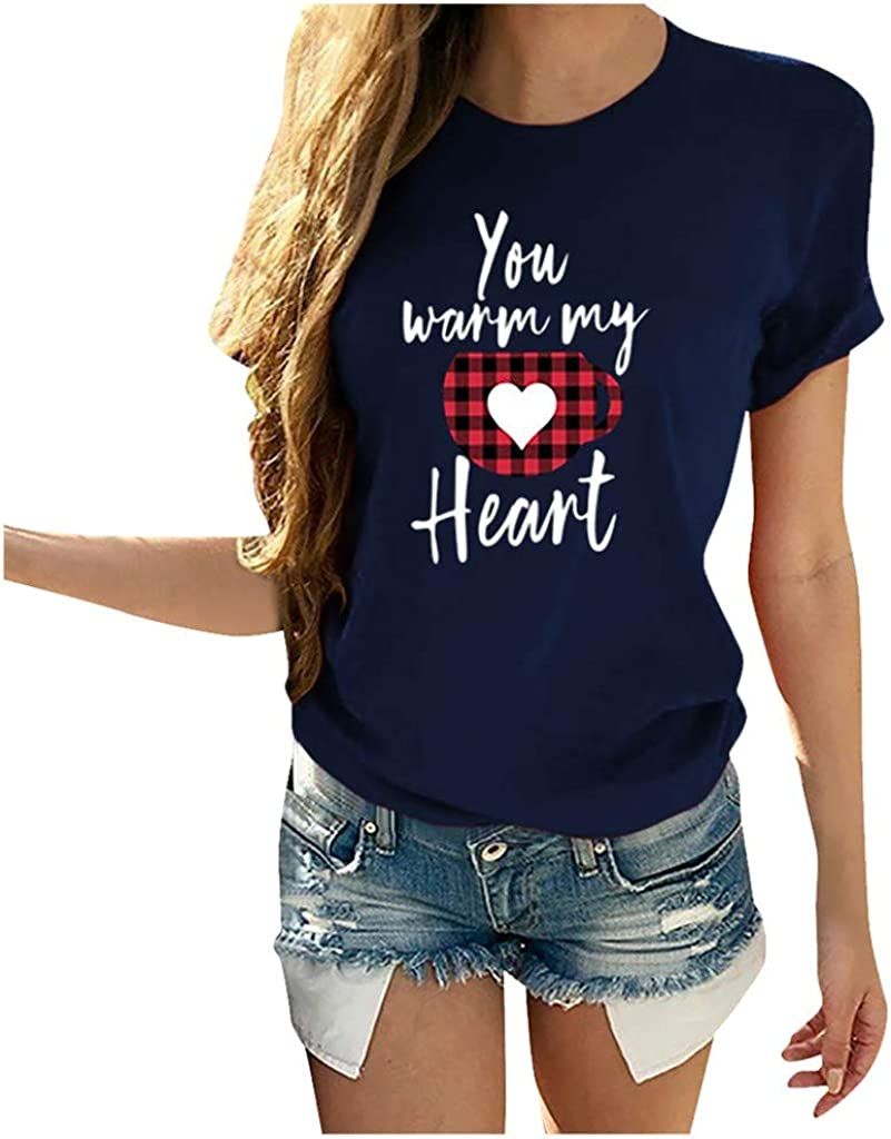 Valentine's Day Women T Shirt Max 85% OFF Color Hea Opening large release sale Love Block Plaid Leopard