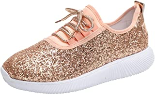 LENXH Women's Sports Shoes Sequins Running Shoes with Soft Bottom Shoes Breathable Flat Shoes 35-43