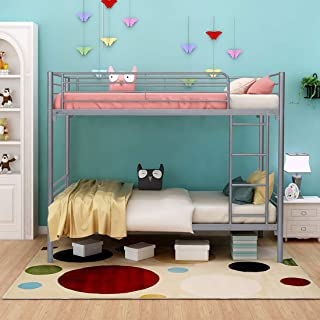 JURMERRY Bunk Bed Metal Frame Twin Over Twin with Slat & Ladder Hevay Duty Steel Bed Frame (Silver)