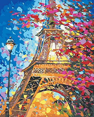 WONZOM DIY Pintura por Números Kit, Pintar por Numeros sobre Lienzo para Adultos Principiantes - Hermoso Torre Eiffel Paisaje 16 * 20 Pulgadas Sin Marco