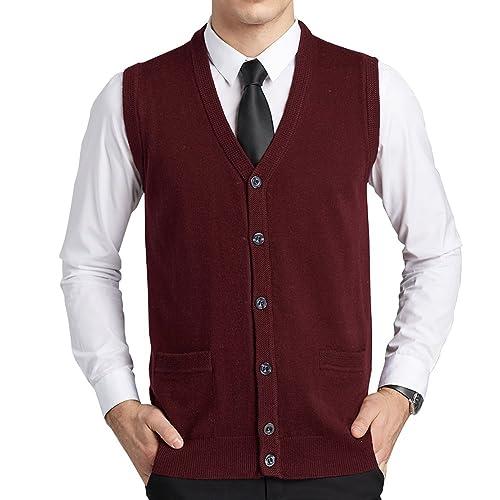 6094bcd7e FULIER Mens Wool V-Neck Gilet Sleeveless Vest Waistcoat Classic Gentleman Knitwear  Cardigans Knitted Sweater