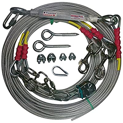 Freedom Aerial Double Dog Trolley Run Cable 2 Dogs FADR-DD500 (Large Dogs, 150 FT)
