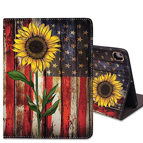 iPad Mini 5/Mini 4 Case, iPad Mini 1/2/3 Case,Slim Soft Rubber Back Shockproof Protective Case with Auto Wake/Sleep for iPad Mini 5th/4th Gen 7.9 Inch, Vintage American Flag and Sunflower