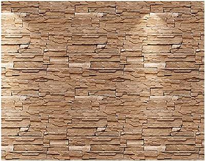 Univocean Vinyl PVC 3D Stone Wall Sticker, 200 x 45 cm, Brown