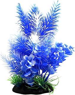uxcell White Blue Plastic Plant Ornament Aquarium Terrarium Decoration for Reptiles and Amphibians