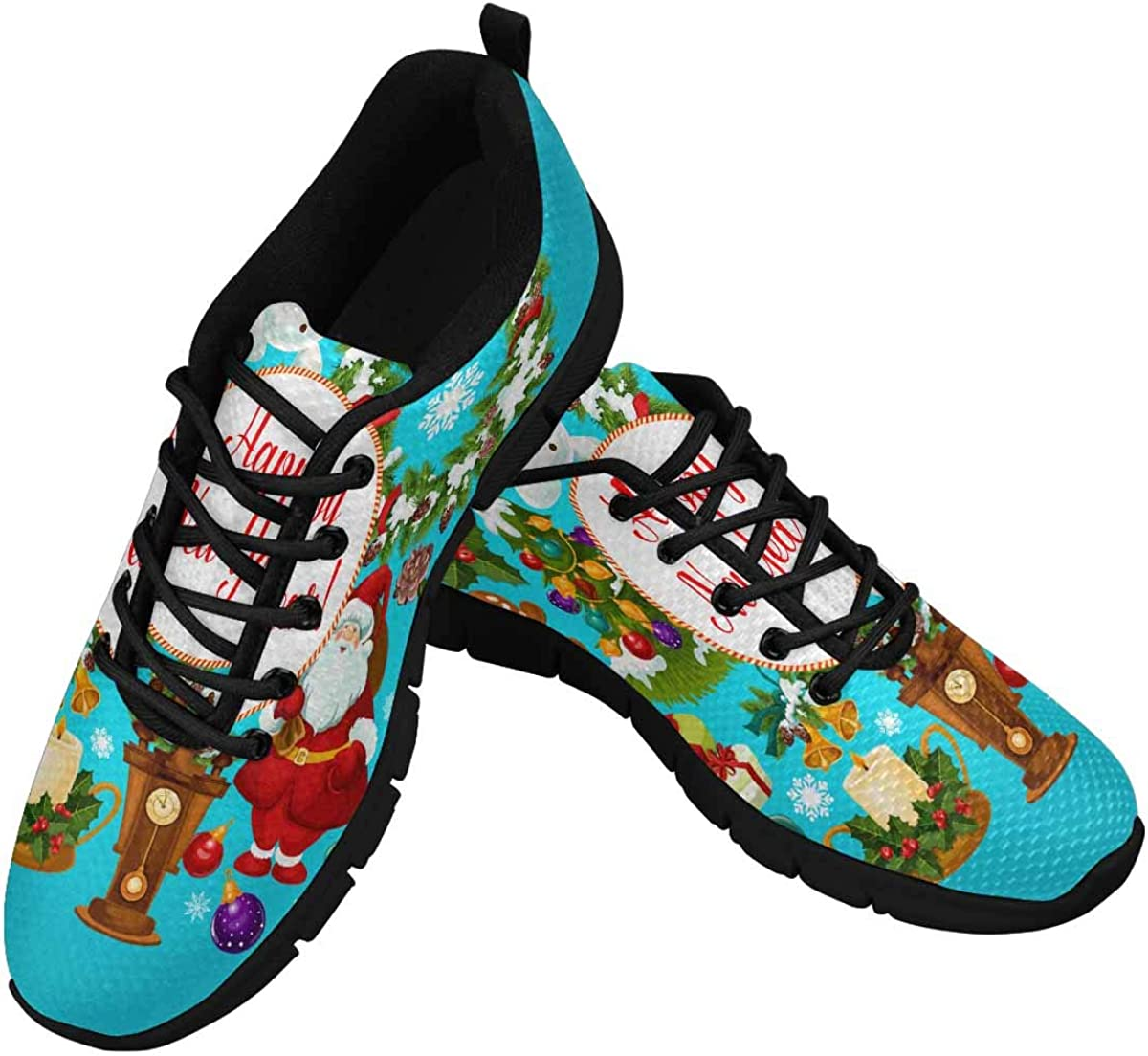 InterestPrint Santa and Snowman, Candy Cane Women's Athletic Walking Running Sneakers Comfortable Lightweight Shoes