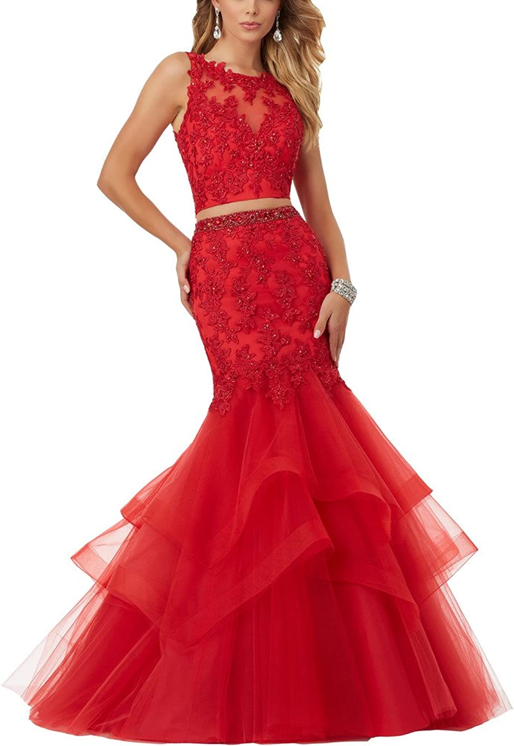 Topquality2016 Women's Mermaid Lace Long Two Piece Prom Ball Dress Evening Gown