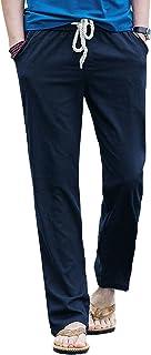 Gopune Men's Casual Pants Linen Trousers Lightweight Elasticated Waist with Pockets