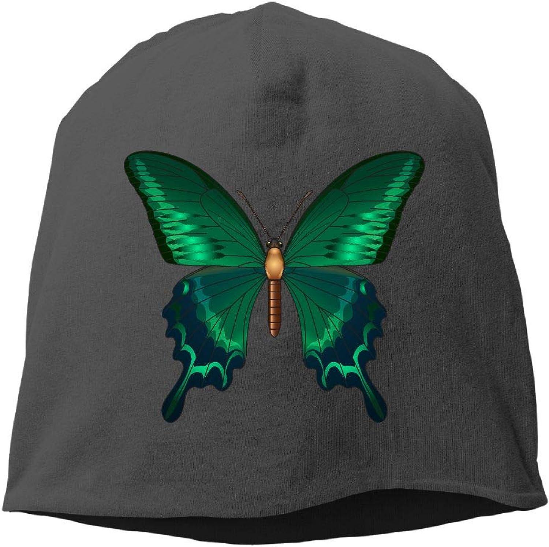 Jusxout Skull Hat Beanie Hats Winter Warm Green Butterfly Women's Slouchy