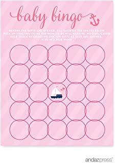 Andaz Press Pink Girl Nautical Baby Shower Collection, Games, Activities, Decorations, Baby Bingo Game Cards, 20-pack