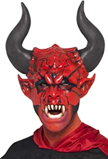 Mens Devil Lord Satan Hell Lucifer Horror Latex Mask Halloween Fancy Dress Costume Accessory Red