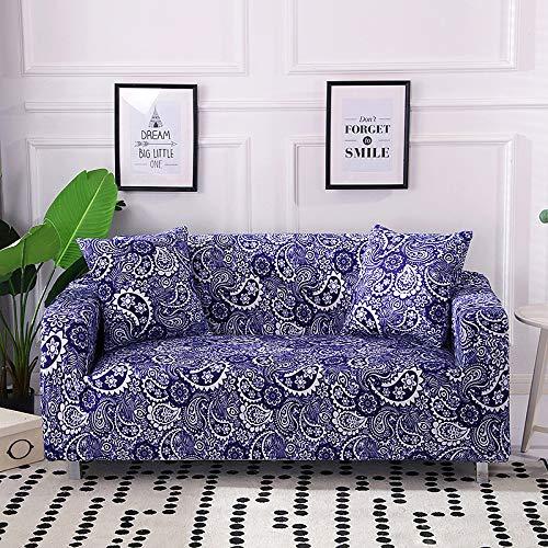 Canapé universel à assise double et antidérapante tout compris, longueur 145-185cm pour porcelaine bleue et blanche,Housses De Canapé Elastiques en Forme De L, Couverture De Canapé d'angle Convertibl