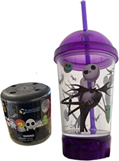 Jack's Drink Up Cup Nightmare Before Christmas Jack Skellington Master of Fright Goblet Up Tumbler Cup with lid and straw Purple + Bonus Mini Squishy NBC Character Figure