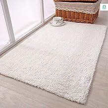 Carpet Cotton Mats Doormats Bedroom Rugs Doormats Anti-Slip Mats Bathrooms Absorbent Pads 45 * 65cm (Color : White)