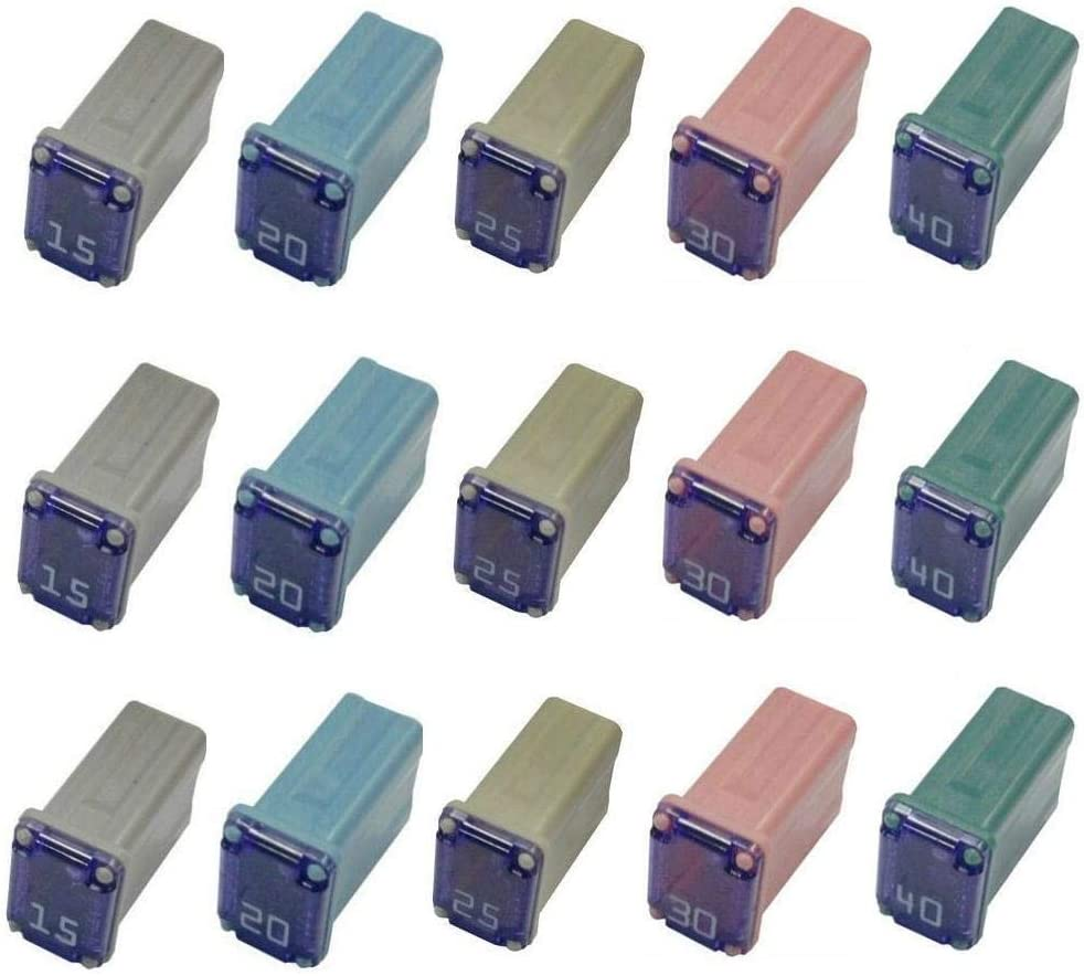 30 Pack Micro Cartridge Fuses Mcase Type Fuse 15amp 20amp 25amp 30amp 40amp for Cars and SUV Trucks