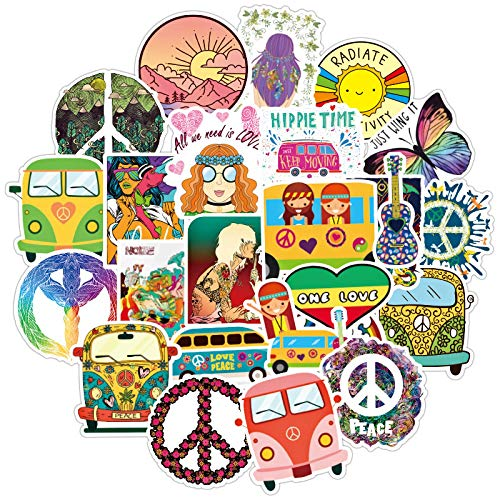 YRSM Hippie Stickers Waterproof Luggage Laptop Scooter Refrigerator Personalized Stickers 50pcs
