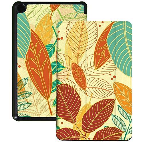 QIYI Funda para Kindle Fire 7 Tablet 9ª Generación Infantil Funda delgada ligera plegable con múltiples ángulos de visión Smart Case con Auto Wake/Sleep - Hojas de otoño