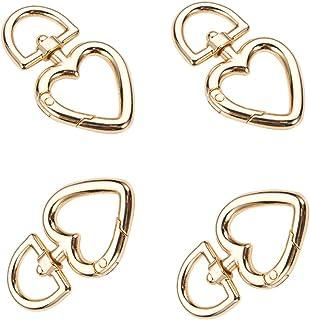 SUKPSY 8 Pcs Heart Shape Swivel Lobster Clasps Zinc Alloy Spring Claw Buckles Keychain Ring Snap Hook Carabiner Clip Hook ...