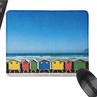 Travel Mouse Pad Bundle Stitched Edges Colorful Bathhouses at Muizenberg Cape Town South Africa Standing in a Row Touristic W16xL24 Multicolor