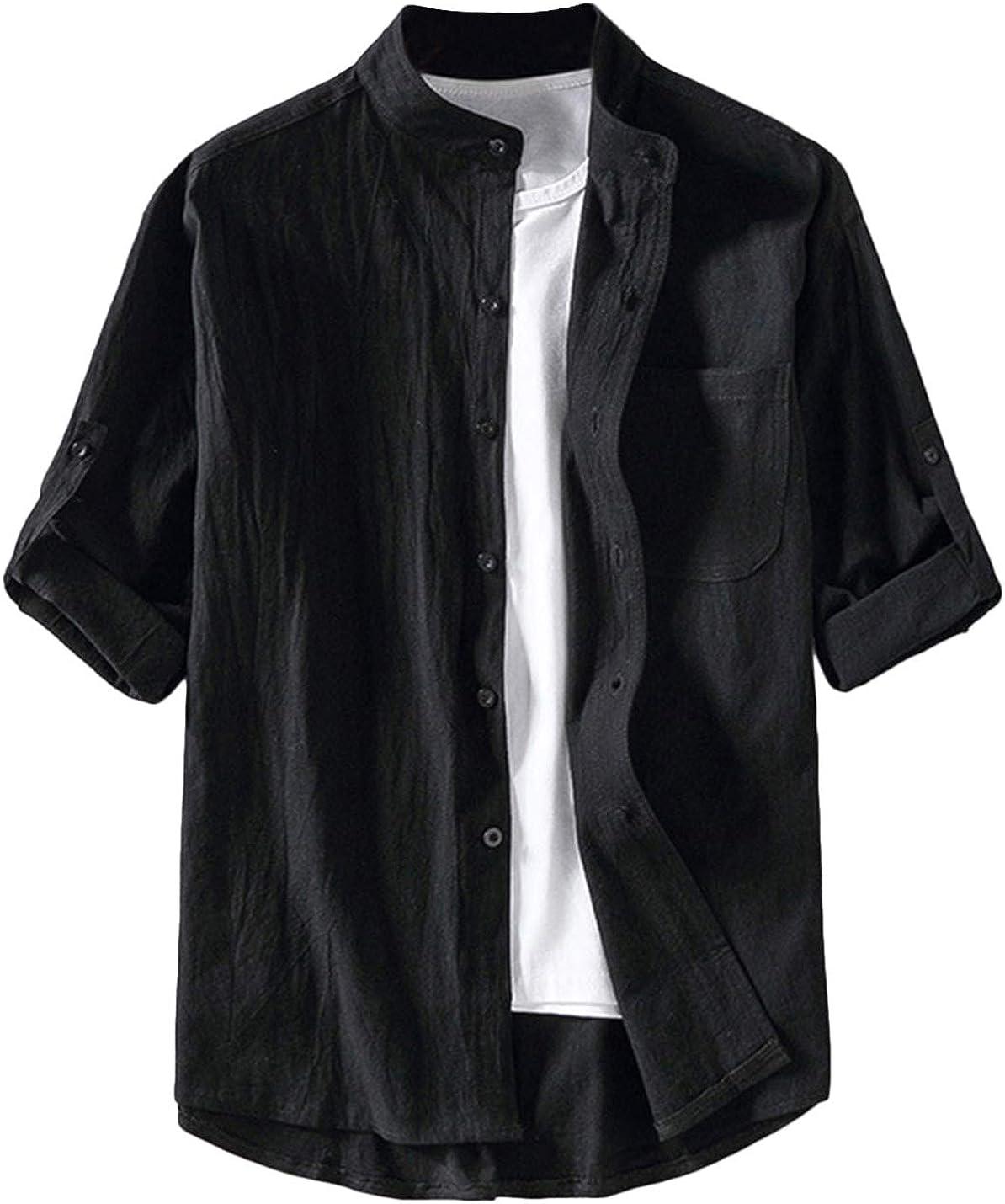 Lentta Men's Loose Casual Button Down Mandarin Collar Short Sleeve Linen Shirts