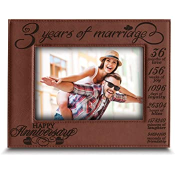 BELLA BUSTA- 3 Years of Marriage-2017-2020- Years,Months, Weeks, Days, Hours, Weeks, Minutes, Seconds- Engraved Leather Picture Frame (5 x 7 Horizontal (Rawhide))