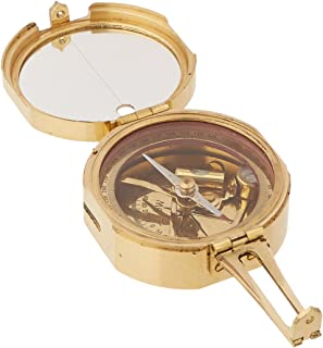 Benzara Brunton Compass Solid Brass with Wood Box